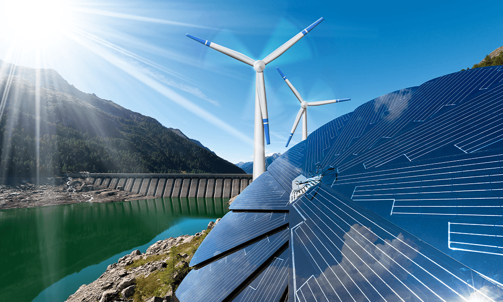 Various renewable energy sources (solar panels, hydroelectric power plant, wind turbines).