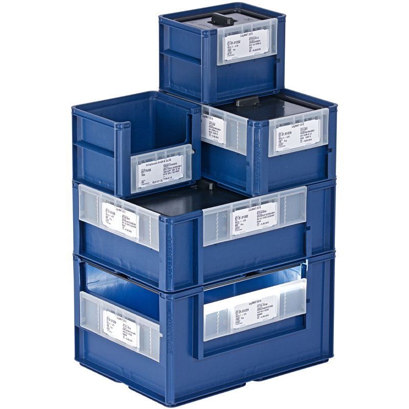 Arrangement of ECOBIN workplace containers from the Böllhoff Group.