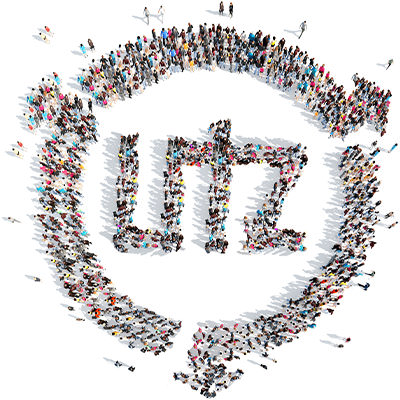 Drone picture of many Utz employees who together form the Utz logo.